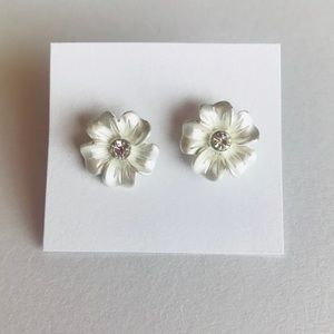 Floral Stud with Faux Diamond Center